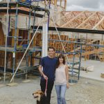 couple and dog at site