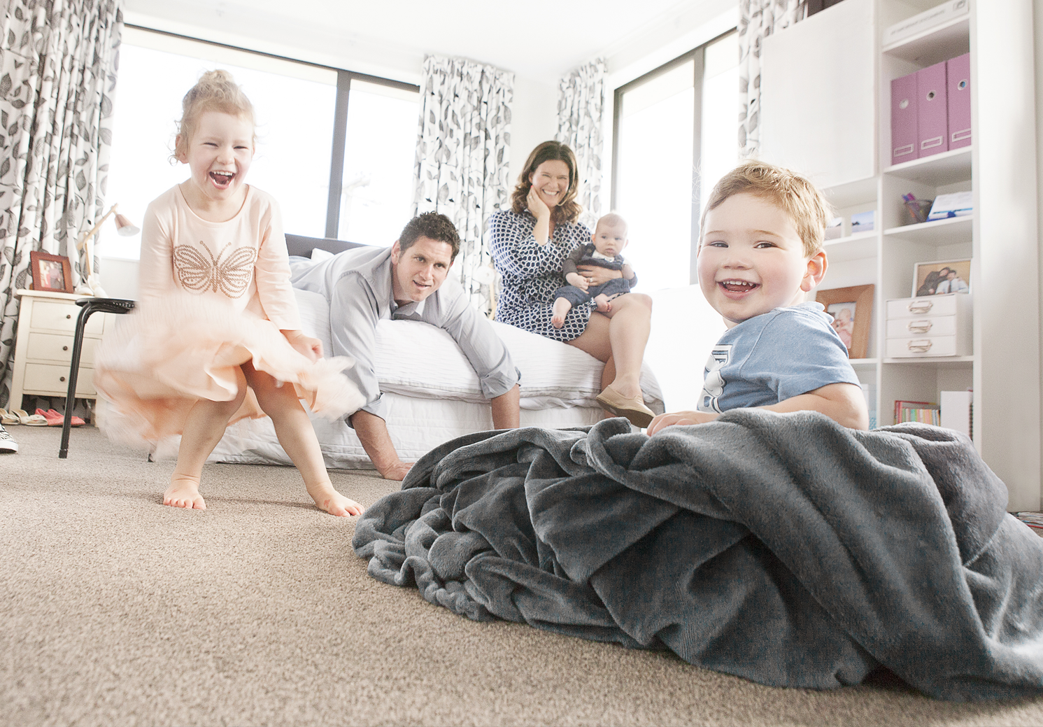 family of five playing